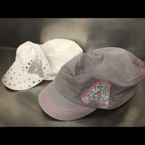 """Justice Initial """"A"""" White & Gray Newsboy Hats"""